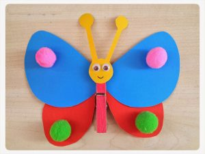 clothespin and pom pom butterfly crafts