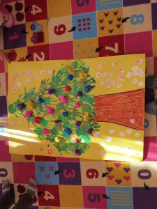handprint christmas tree bulletin board idea
