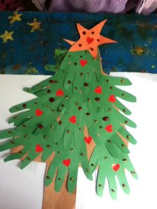 handprint christmas tree craft idea