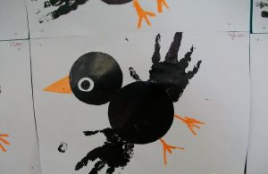 handprint crow craft idea for kids