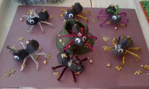 egg carton ant bulletin board idea for kids