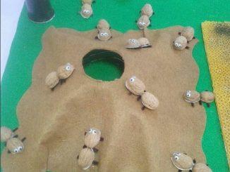 peanut shell ant craft idea