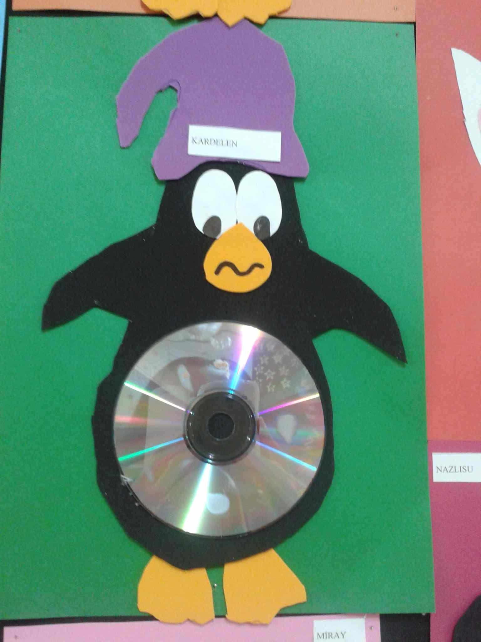 cd penguin craft idea for kids