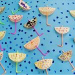 cupcake liner umbrella craft idea