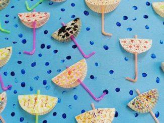 cupcake liner umbrella craft idea