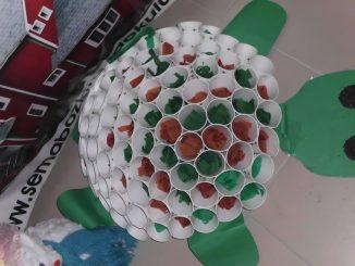 paper cup turtle bulletin board idea