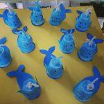 paper cup whale craft idea