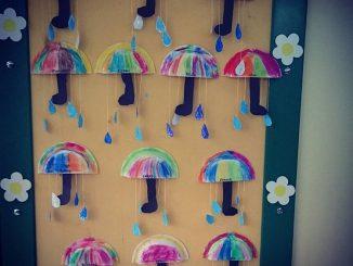paper plate umbrella craft idea