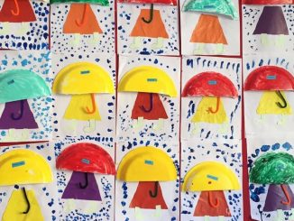 paper plate umbrella craft idea for kids