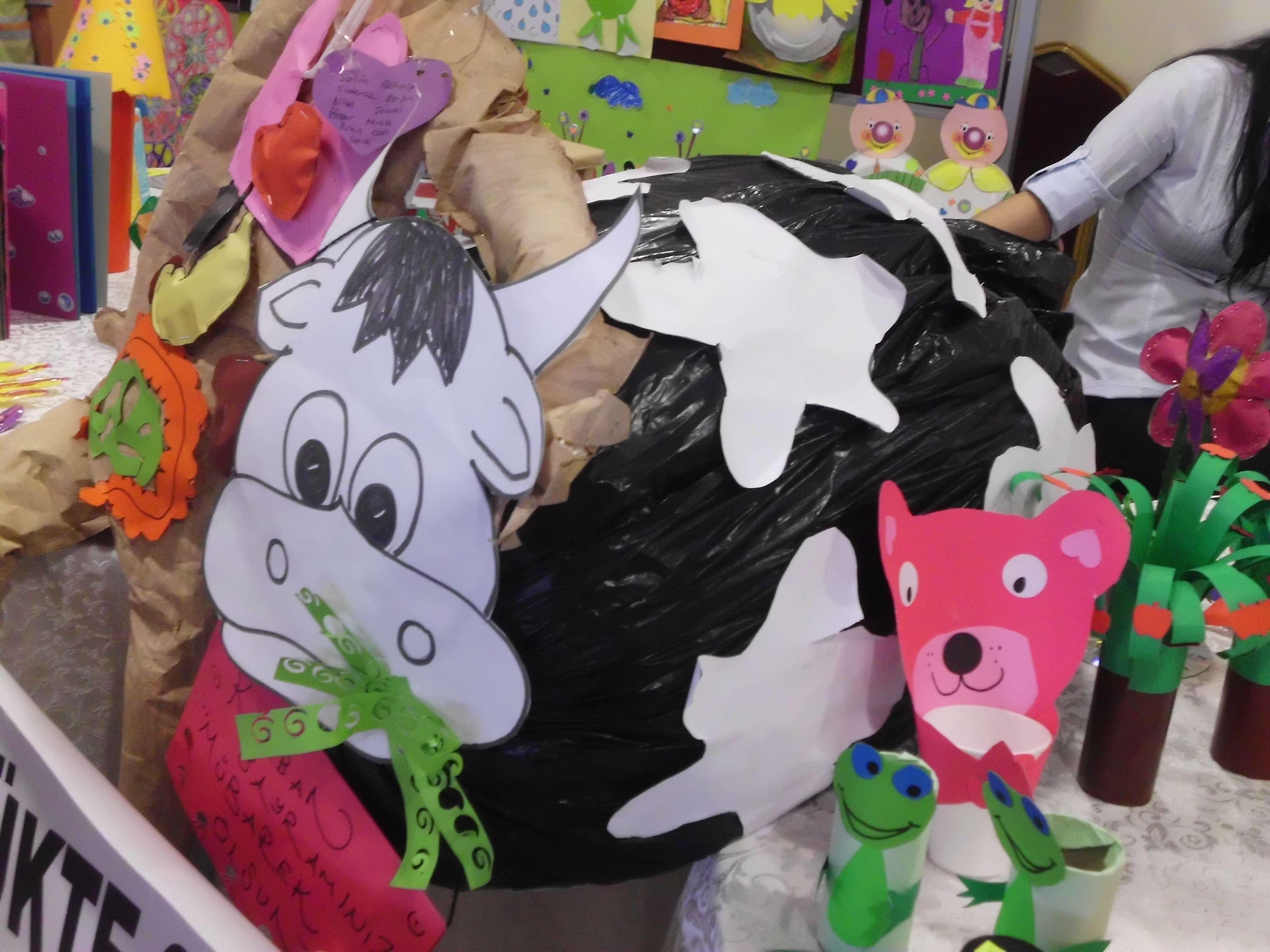 plastic bag cow craft