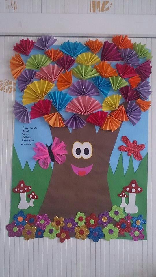 spring tree bulletin board idea for kids
