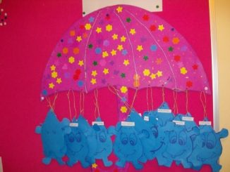 umbrella bulletin board idea
