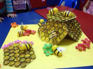 bottle-cap-beehive-craft