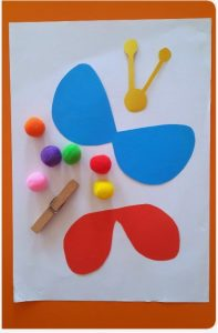 clothespin and pom pom butterfly craft materials