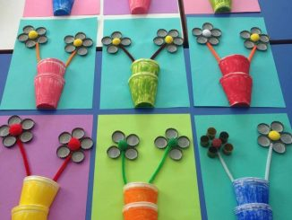 paper cup and bottle cap flower craft