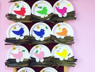 paper plate bird nest craft idea for kids