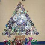 cd christmas tree bulletin board idea