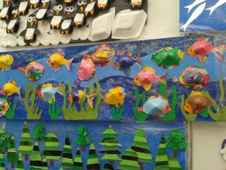 cone-shaped-fish-bulletin-board-idea