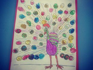 fingerprint peacock craft