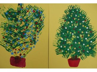 fork stamp christmas tree craft
