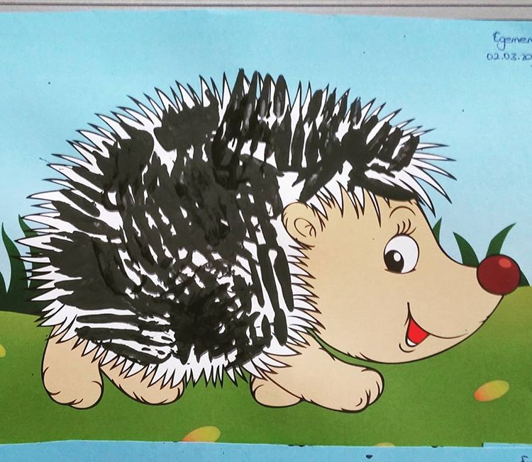 fork stamp hedgehog craft idea