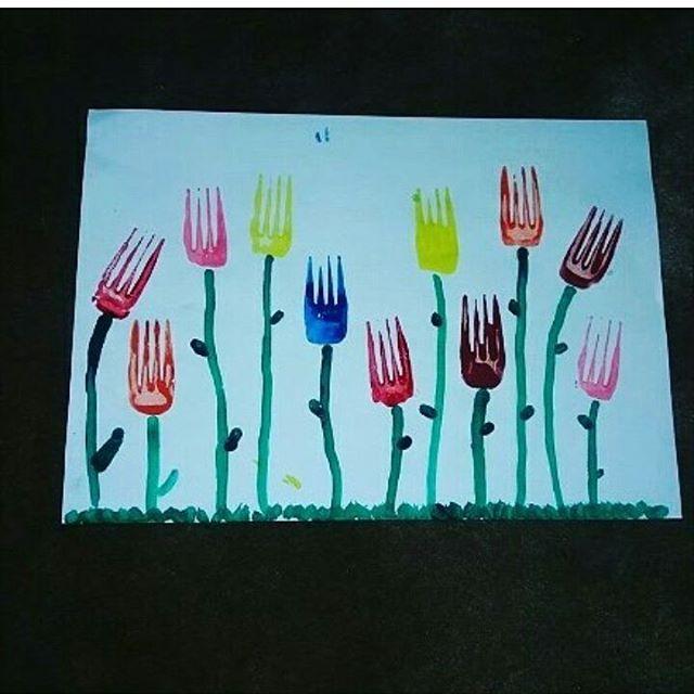 fork stamp tulip craft