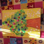handprint christmas tree bulletin board idea