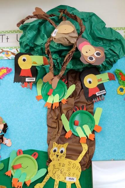 jungle animal bulletin board idea for kids