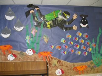 scuba diver bulletin board idea for kids