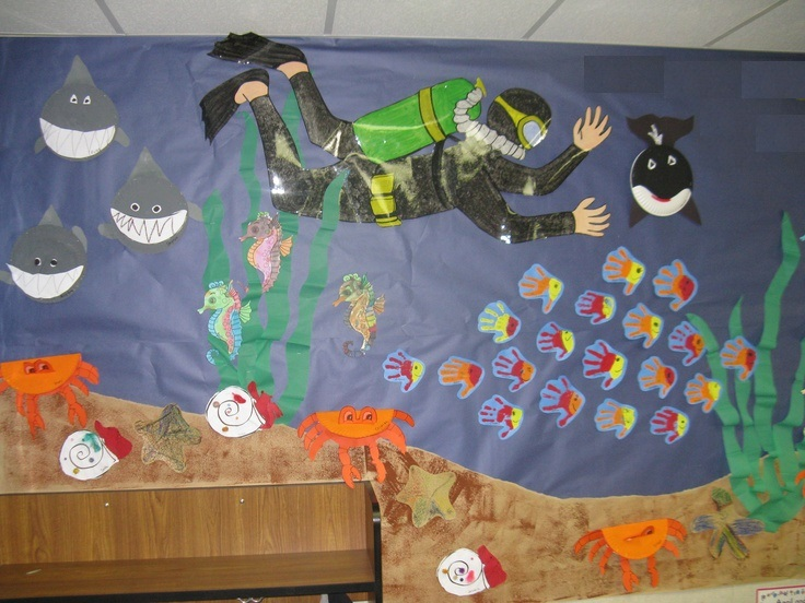 scuba diver bulletin board idea for kids