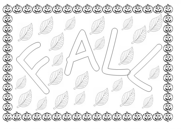 Fall season coloring page for kindergarten