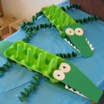 egg carton crocodile craft idea