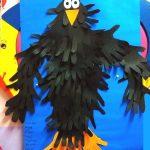 handprint crow bulletin board idea for kids
