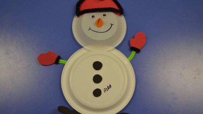 paper plate snowman craft winter season crafts idea for 5115