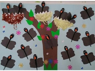 plastic spoon crow bulletin board idea