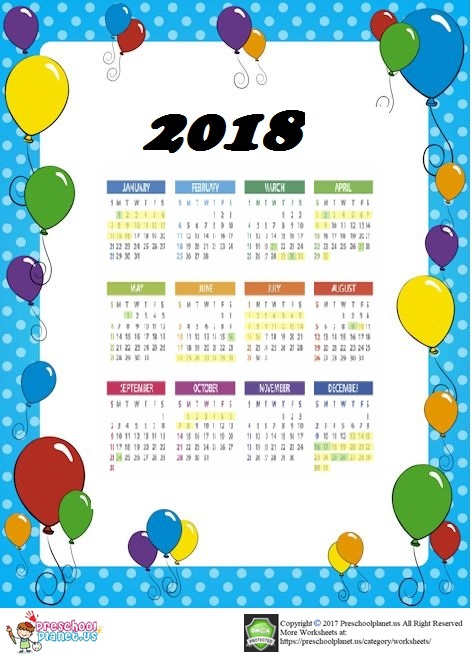 2018 calendar for toddlers