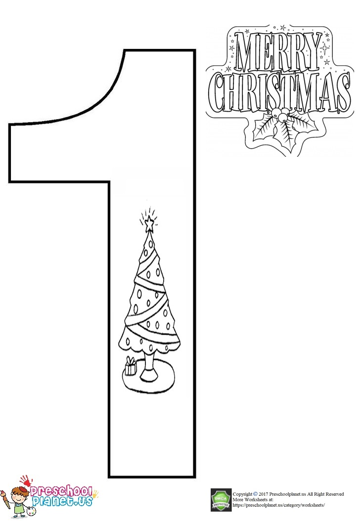christmas number 1 coloring page for kids