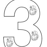 christmas number 3 coloring page for toddlers