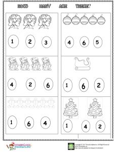 christmas number count worksheet for kids