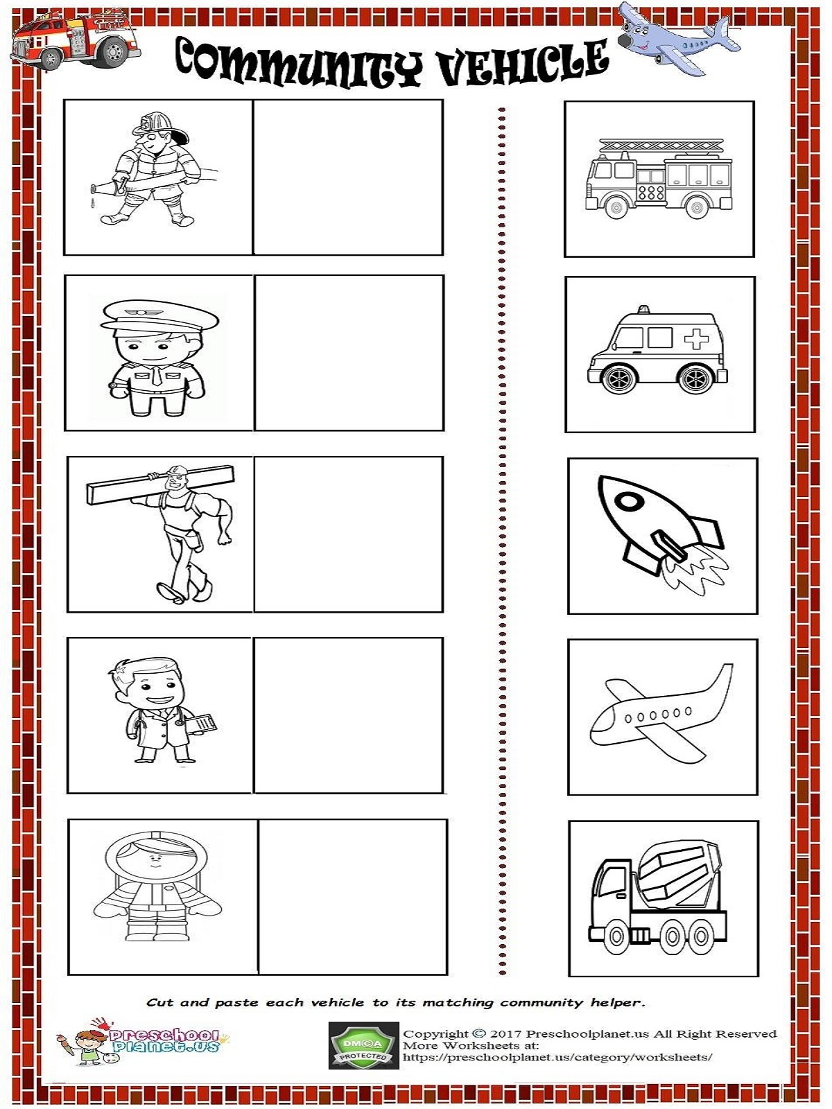 community vehicle worksheet