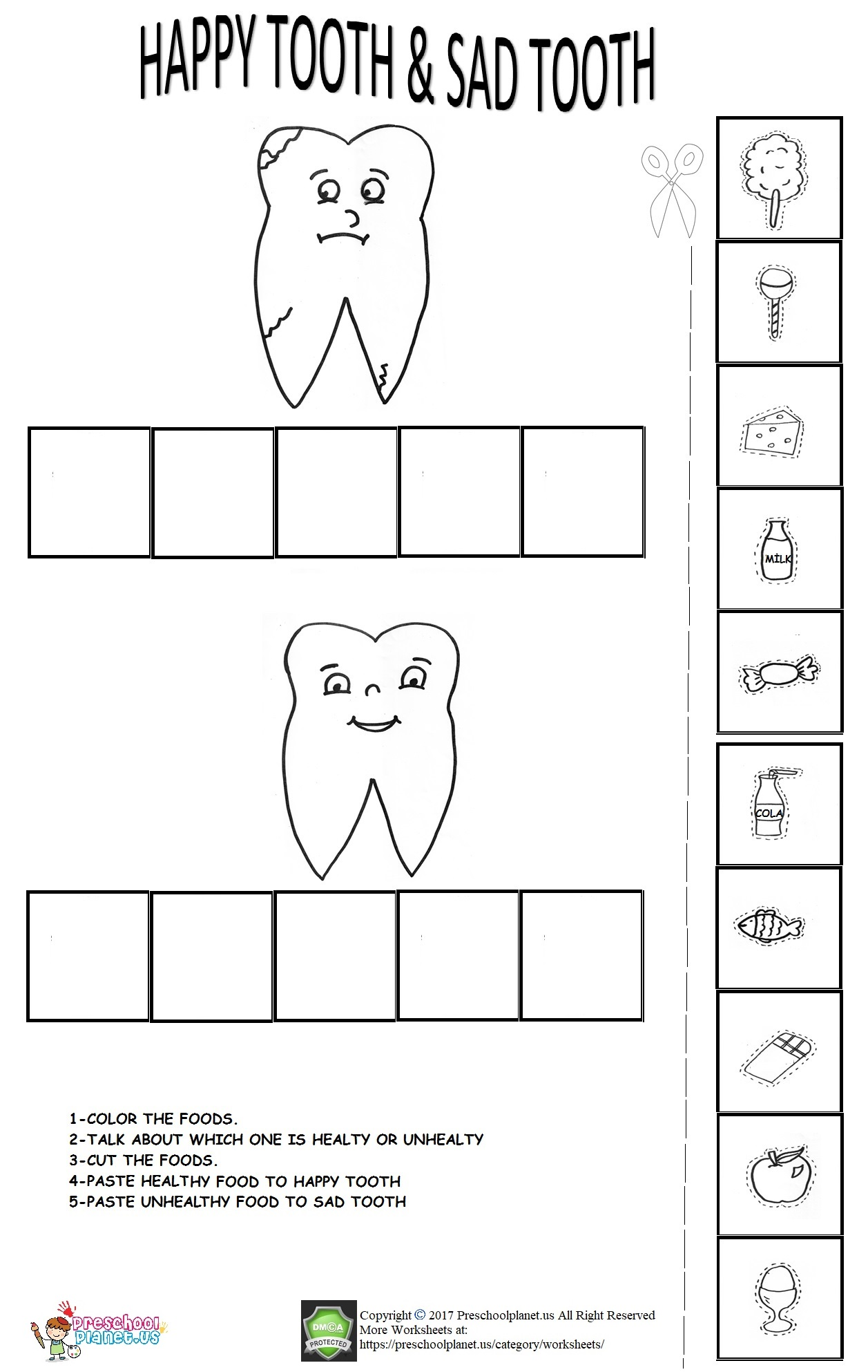 dental health week worksheet for kids