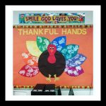 handprint turkey bulletin board idea for kids