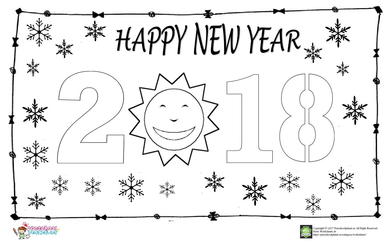 happy new year coloring page for kids