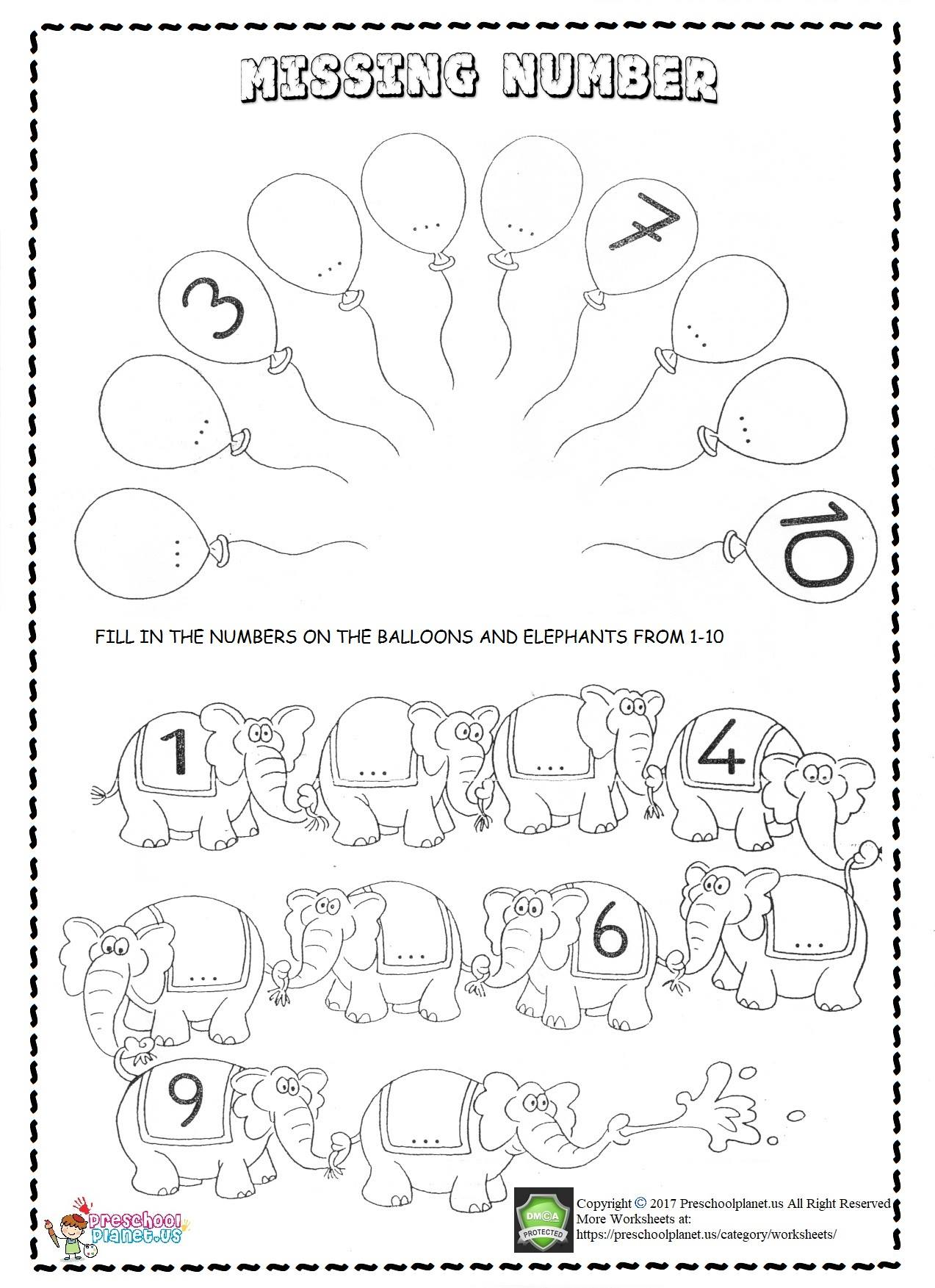 missing number worksheet for kids
