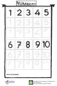 number trace worksheet for kids(1-10)