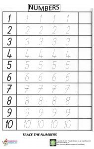 number trace worksheet for preschool
