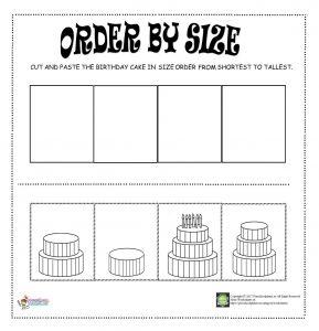 order by size worksheet for kids