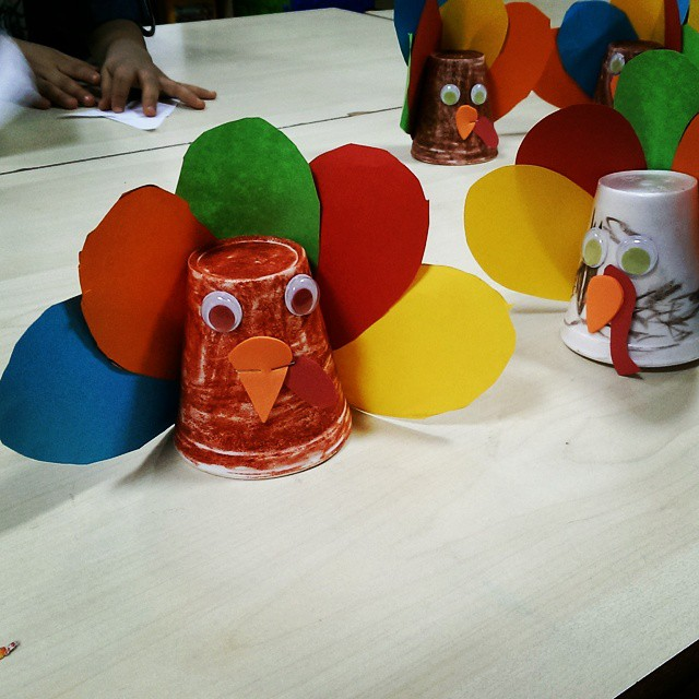 paper cup turkey craft idea