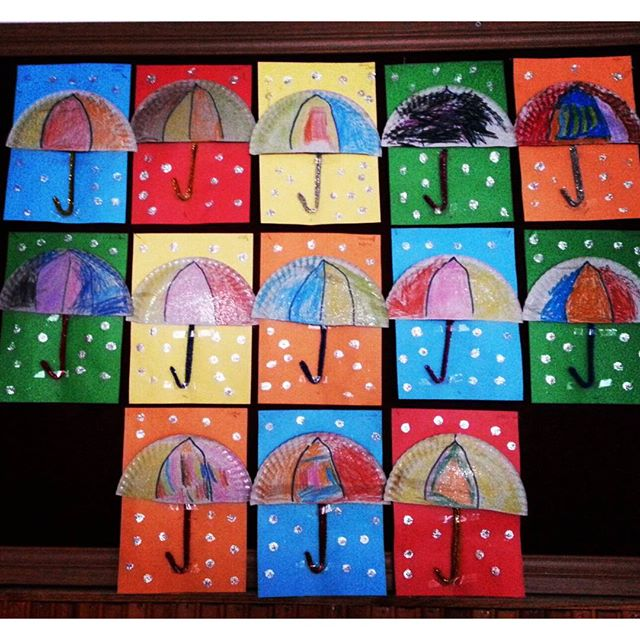 paper plate umbrella craft idea