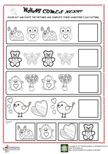valentine's day pattern worksheet for kids